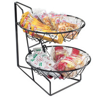 Ca-Mil 1292-2 Two Tier Merchandiser with Round Wire Baskets - 12 inch x 15 inch x 15 inch