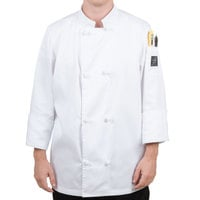 Chef Revival Bronze J050-XL Size 48 (XL) Customizable Double Breasted Chef Coat with Knot Cloth Buttons - Poly-Cotton Blend