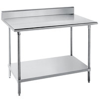 16 Gauge Advance Tabco KMG-244 24 inch x 48 inch Stainless Steel Commercial Work Table with 5 inch Backsplash and Undershelf