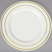 Fineline Silver Splendor 506-BO 6 inch Bone / Ivory Customizable Plastic Plate with Gold Bands - 150/Case