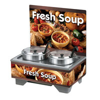 Vollrath 720202103 Full Size Soup Merchandiser Base with Menu Board, 7 qt. Accessory Pack, and Country Kitchen Graphics - 120V, 1000W