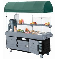 Cambro KVC854C426 CamKiosk Black Base with Granite Gray Door Customizable Vending Cart with 4 Pan Wells and Canopy
