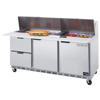 Beverage Air SPED72-10C-2 72 inch 2 Door 2 Drawer Cutting Top Refrigerated Sandwich Prep Table with 17 inch Wide Cutting Board