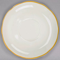 CAC SC-2G Seville 6 inch Ivory (American White) Scalloped Edge China Saucer With Gold Band - 36/Case