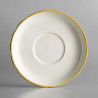 6 inch Ivory (American White) Scalloped Edge China Saucer With Gold Band - 36/Case