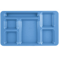 Cambro 1596CW168 Camwear (2 x 2) 9 inch x 15 inch Blue Six Compartment Serving Tray   - 24/Case