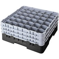 Cambro 36S800110 Black Camrack Customizable 36 Compartment 8 1/2 inch Glass Rack