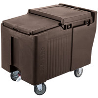 Cambro ICS175L131 Dark Brown Sliding Lid Portable Ice Bin - 175 lb. Capacity