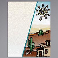 8 1/2 inch x 11 inch Menu Paper Cover - Southwest Themed Desert Design - 100/Pack