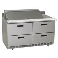 Delfield STD4460N-18M 60 inch 4 Drawer Mega Top Refrigerated Sandwich Prep Table with 4 inch Backsplash