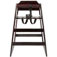 Lancaster Table & Seating Stacking Restaurant Wood High Chair with Dark Finish - Unassembled
