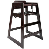 Lancaster Table & Seating Ready-to-Assemble Stacking Restaurant Wood High Chair with Dark Finish