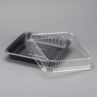 Genpak 55388 Bake 'N Show Dual Ovenable Square Brownie / Cake Pan with Lid - 10/Pack