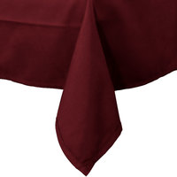54 inch x 96 inch Burgundy 100% Polyester Hemmed Cloth Table Cover