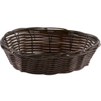 Tablecraft 1471 7 inch x 5 inch x 2 inch Brown Oval Rattan Basket - 12/Pack