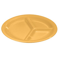 Carlisle 3300022 10 1/2 inch Honey Yellow Sierrus 3 Compartment Narrow Rim Dinner Plate - 12 / Case