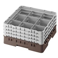 Cambro 9S800167 Brown Camrack Customizable 9 Compartment 8 1/2 inch Glass Rack