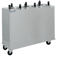 Delfield CAB3-725ET Even Temp Mobile Enclosed Three Stack Heated Dish Dispenser / Warmer for 6 1/2 inch to 7 1/4 inch Dishes - 208V