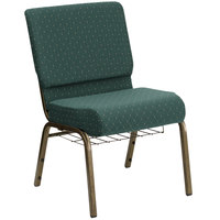 Hunter Green Dot Patterned 21 inch Extra Wide Church Chair with Communion Cup Book Rack - Gold Vein Frame