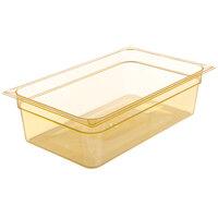 Carlisle 10402B13 StorPlus Full Size Amber High Heat Plastic Food Pan - 6 inch Deep