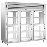 Traulsen RHT332NPUT-HHG Stainless Steel 73.1 Cu. Ft. Three Section Glass Half Door Narrow Pass-Through Refrigerator - Specification Line
