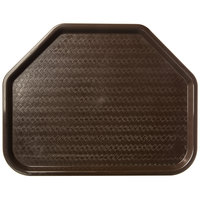 Carlisle CT1713TR69 Customizable Cafe 14 inch x 18 inch Chocolate Trapezoid Plastic Fast Food Tray - 12/Case