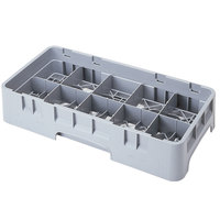 Cambro 10HS434151 Soft Gray Camrack Customizable 10 Compartment 5 1/4 inch Half Size Glass Rack