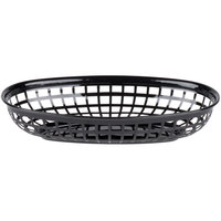 9 1/4 inch x 5 3/4 inch Black Plastic Oval Fast Food Basket - 12/Pack