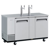 Turbo Air TBD-3SD-N (2) Double Tap Kegerator Beer Dispenser - Stainless Steel, (3) 1/2 Keg Capacity