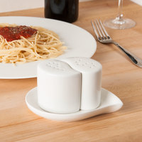 CAC PSP-3 Goldbook Bone White China Salt and Pepper Shaker Set with Saucer - 12/Case