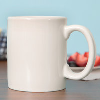 Tuxton BEM-1202 DuraTux 12 oz. Ivory (American White) China C-Handle Mug - 24/Case
