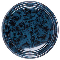 Sabert 816 16 inch Black Marble Round Catering Tray - 36 / Case