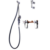 T&S B-0680-ST Bedpan Washer with Concealed Mixing Faucet and Wall Hook Outlet - 5' PVC Hose with Extended Spray Nozzle and Self Closing Spray Valve