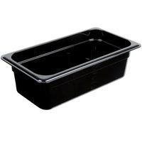 Carlisle 3066103 StorPlus 1/3 Size Black Polycarbonate Food Pan - 4 inch Deep