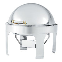 Vollrath 48765 6 Qt. Silverplated New York, New York Retractable Dripless Round Chafer with Brass Trim