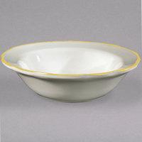 5 oz. Seville Ivory (American White) Scalloped Edge China Fruit / Monkey Dish with Gold Band - 36/Case