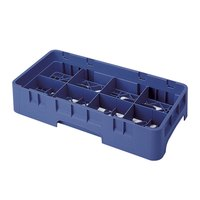 Cambro 8HS800186 Navy Blue Camrack Customizable 8 Compartment Half Size 8 1/2 inch Glass Rack