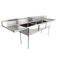 Regency 121 inch 16-Gauge Stainless Steel Three Compartment Commercial Sink with 2 Drainboards - 23 inch x 23 inch x 12 inch Bowls