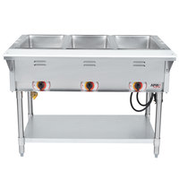 APW Wyott SST3 Stationary Steam Table - Three Pan - Sealed Well, 120V