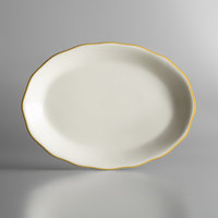 11 5/8 inch x 8 1/2 inch Ivory (American White) Scalloped Edge China Platter with Gold Band - 12/Case