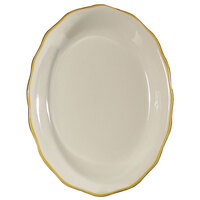 CAC SC-13G Seville 11 5/8 inch x 8 1/2 inch Ivory (American White) Scalloped Edge China Platter with Gold Band - 12/Case