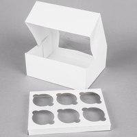 Southern Champion Window Cupcake Box with Insert 9 inch x 7 inch x 3 1/2 inch - 10/Pack