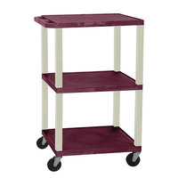 Luxor WT1642E Burgundy Tuffy Open Shelf A/V Cart 18 inch x 24 inch with 3 Shelves - Adjustable Height