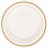 WNA Comet MP9IPREM 9 inch Ivory Masterpiece Plastic Plate with Gold Accent Bands - 120/Case
