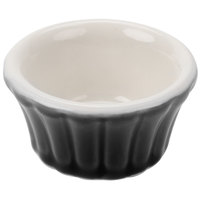 Hall China 30832W101 Black 4 oz. Flared Ramekin Dish - 24/Case