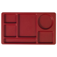 Cambro 915CP416 (2 x 2) 8 3/4 inch x 15 inch Cranberry Six Compartment Serving Tray - 24/Case