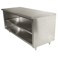 Advance Tabco EB-SS-306M 30 inch x 72 inch 14 Gauge Open Front Cabinet Base Work Table with Fixed Mid Shelf