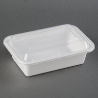 24 oz. White 7 inch x 5 inch x 2 inch Rectangular Microwavable Container with Lid - 150 / Case