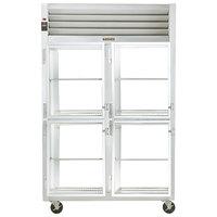 Traulsen G21005P 2 Section Glass Half Door Pass-Through Refrigerator - Left / Left Hinged Doors