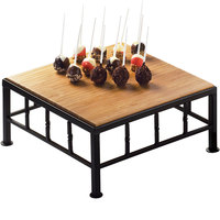 Cal-Mil 1711-5-60 Iron Black Square Riser with Bamboo Top - 12 inch x 5 inch